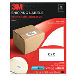 3M Permanent Adhesive White Laser Mailing Labels, 2 x 4, 2500/Pack