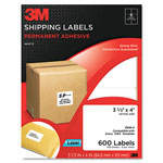 3M Permanent Adhesive White Laser Mailing Labels, 3-1/3 x 4, 600/Pack
