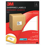 3M Permanent Adhesive White Laser Mailing Labels, 3-1/2 x 5, 400/Pack