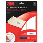 3M Permanent Adhesive White Inkjet Mailing Labels, 1 x 2-5/8, 750/Pack