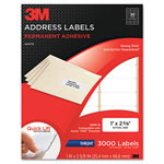 3M Permanent Adhesive White Mailing Labels f/ Inkjet Printers, 1 x 2-5/8, 3000/Pack