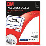 3M Permanent Adhesive White Mailing Labels f/ Inkjet Printers, 8-1/2 x 11, 100/Pack