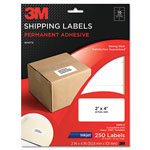 3M Permanent Adhesive White Inkjet Mailing Labels, 2 x 4, 250/Pack
