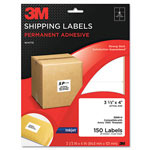 3M Permanent Adhesive White Inkjet Mailing Labels, 3-1/3 x 4, 150/Pack