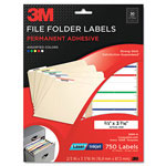 3M Permanent Adhesive Filing Labels, 2/3 x 3-7/16, Assorted, 750/Pack
