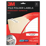 3M Permanent Adhesive Filing Labels, 2/3 x 3-7/16, White, 750/Pack