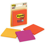 "Post-it® Super Sticky™ Note Pads, 3""x3"", 3 Pads, Blue/Purple/Yellow"