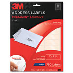 3M Permanent Adhesive Clear Inkjet Mailing Labels, 1 x 2-5/8, 750/Pack
