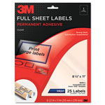 3M Permanent Adhesive Clear Inkjet Mailing Labels, 8-1/2 x 11, 25/Pack