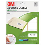 3M Permanent Adhesive White Recycled Mailing Labels, 1 x 2-5/8, 750/Pack