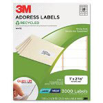 3M Permanent Adhesive White Recycled Mailing Label f/Printer, 1 x 2-5/8, 3000/Pack