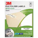 3M Permanent Adhesive White Recycled Mailing Labels, 2/3 x 3-7/16, 1500/Pack