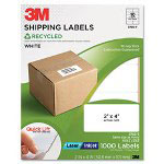3M Permanent Adhesive White Recycled Mailing Labels, 2 x 4, 1000/Pack