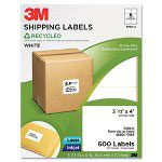 3M Permanent Adhesive White Recycled Mailing Labels, 3-1/3 x 4, 600/Pack