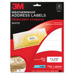 3M Permanent Adhesive White Weatherproof Address Labels, 1 x 2-5/8, 750 Labels/Pack