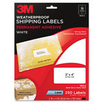 3M Permanent Adhesive White Weatherproof Address Labels, 2 x 4, 250 Labels/Pack