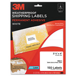 3M Permanent Adhesive White Weatherproof Address Labels, 3-1/3 x 4, 150 Labels/Pack