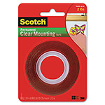 "3M Double Sided Mounting Tape, Industrial Strength, 1"" x 60"", Clear/Red Liner"