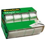 "Scotch Office Tape & Refillable Dispenser, 3/4"" x 8 yds, 1"" Core, Four/Box"