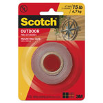 "Scotch Exterior Weather-Resistant Double-Sided Tape, 1"" x 60"", Gray"