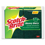 "Scotch Brite® Heavy-Duty Scrub Sponge, 4 1/2"" x 2 7/10"" x 3/5"", Green/Yellow, 6/Pack"