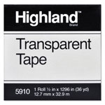 "Highland Transparent Tape, 1/2"" x 1296"", 1"" Core, Clear"