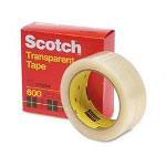 "3M Transparent Glossy Tape, 1 1/2"" x 2592"", 3"" Core"