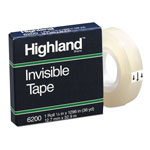 "Highland Invisible Permanent Mending Tape, 1/2"" x 1296"", 1"" Core, Clear"
