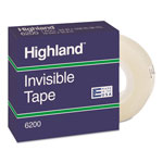 "3M Highland Invisible Tape, 1"" Core, 3/4""x1296"", Clear"