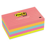 Post-it® Neon Color Ruled Note Pads, 3 x 5 Size, 5 Pads/Pack