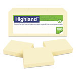 Highland Recycled Self-Stick Notes, 1 3/8 x 1 7/8, Yellow, 100 Sheets/Pad, 12 Pads/Pack