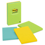 Post-it® Ultra Color Ruled Note Pads, 4 x 6 Size, 3 Pads/Pack