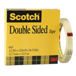 "3M 665 Double Sided Film Tape without Liner, 1/2"" x 1296"", 3"" Core"