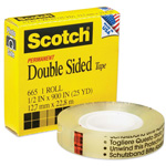 "3M Double Sided Tape, 1""Core, 1/2""x25Yards, Clear"