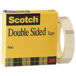 "3M Double Sided Tape, With Liner, 3""Core, 1""x36Yards, Clear"