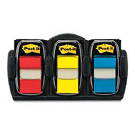 Post-it® Red Yellow and Blue Flags with Refillable Dispenser, 1""