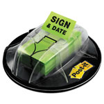 "Post-it® Flags in Dispenser, ""Sign & Date"", Bright Green, 200 Flags/Dispenser"