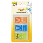 "Post-it® Arrow Message 1"" Page Flags, ""Sign Here"", Orange; Blue; Lime Green, 60/Pack"