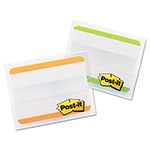 3M Durable File Tabs, 2 x 1 1/2, Striped, Green/Orange, 24/pk
