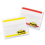 3M Durable File Tabs, 2 x 1 1/2, Striped, Red/Yellow, 24/pk