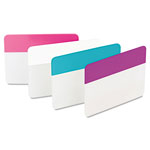 3M Durable File Tabs, 2 x 1 1/2, Aqua, Pink, Violet, White, 24/Pack