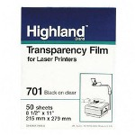 "3M 701 Clear Transparency Film for Laser Printers, 8 1/2"" x 11"""