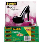 "3M Magic Tape Value Pack with Black Shoe Dispenser, 3/4"" x 1000"", 12 Rolls"