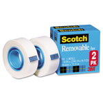 "Scotch Removable Tape 811 2PK, 3/4"" x 1296"", 1"" Core, 2/Pack"