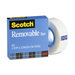 "3M Removable Tape, 1"" Core, 3/4""x1296"", Transparent"