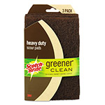 Scotch Brite® Greener Clean Heavy-Duty Scour Pads, 4.01 x 7, Brown, 3/Pack