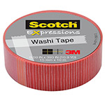 "Scotch Expressions Washi Tape, .59"" x 393"", Pink/Red Stripe"