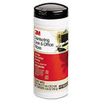 3M Disinfecting Desk & Office Wet Wipes, Cloth, 7 x 8, 25/Canister