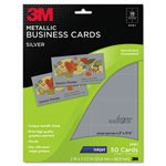 3M Inkjet Metallic Business Cards, 2 x 3 1/2, Silver, 50/PK