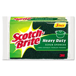 Scotch Brite® Heavy-Duty Scrub Sponge, 4 1/2 x 2 7/10 x 3/5 Green/Yellow, 3/Pack